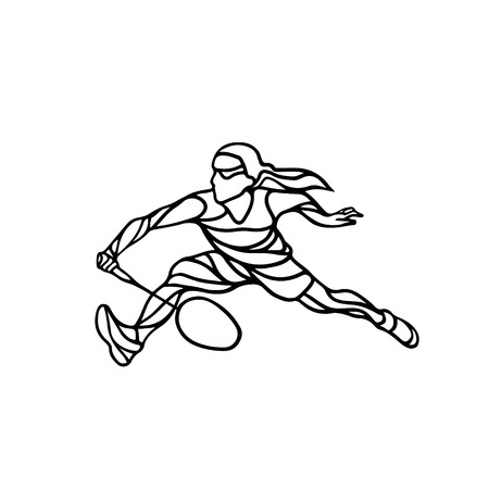 black professional: Silhouette of abstract female badminton player doing smash shot. Black and white outline professional badminton player.