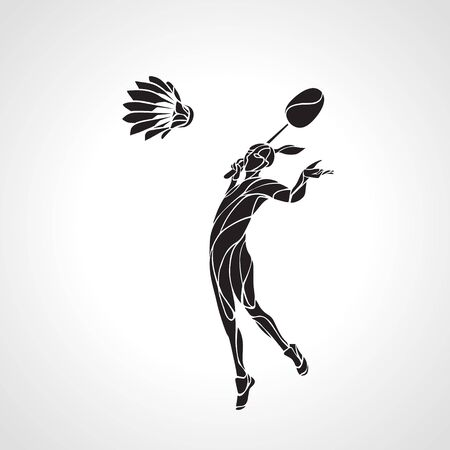 Silhouette of abstract female badminton player doing smash shot. Black and white outline professional badminton player.