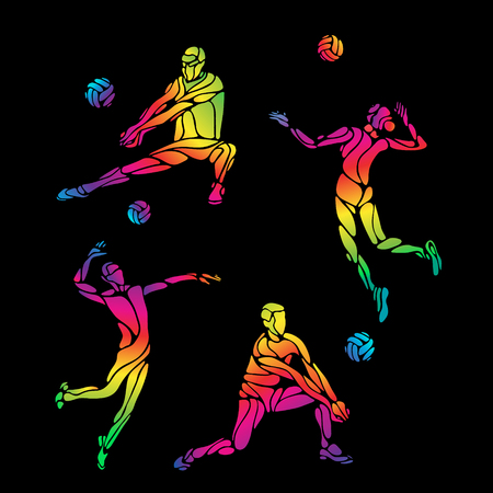 summer game: Vector volleyball players set, people silhouettes, summer game activity. Spectrum color silhouettes collection. Eps 8 Illustration