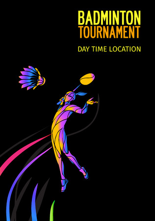Badminton sport invitation poster or flyer background with abstract player and empty space, banner template