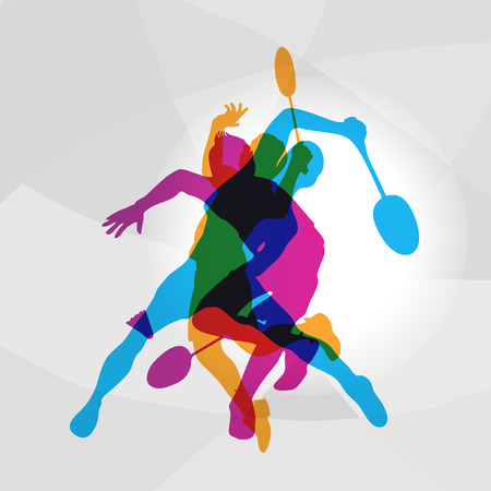 association: Modern Badminton Players In Action Logo. Color silhouettes of badminton players, sports poster background. Vector eps 10