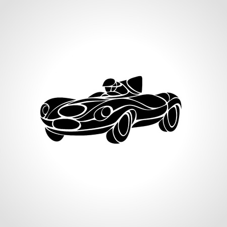 rockabilly: Classic car silhouette isolated on black background, Vintage car Illustration