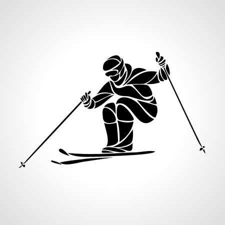 Ski downhill. Creative silhouette of the skier. Ski Racer. illustration