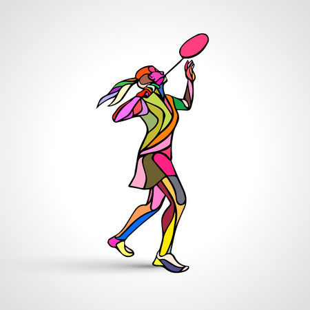 smash: Silhouette of abstract female badminton player doing smash shot. Color illustration of professional badminton player.