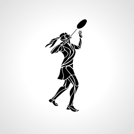 sports team: Silhouette of abstract female badminton player doing smash shot. Black and white outline professional badminton player. illustration Illustration