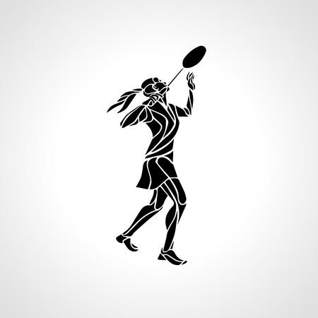 team sports: Silueta del jugador de bádminton abstracta que hace femenino disparo rotura violenta. contorno jugador profesional de bádminton blanco y negro. ilustración Vectores