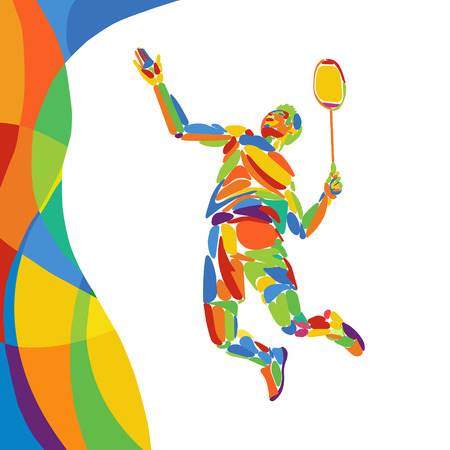 Abstract colorful pattern with Badminton Player. Summer colors - Green, orange, yellow, blue. Sport background for design advertising.
