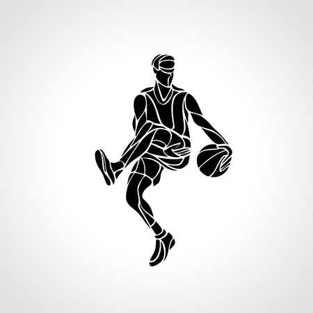 dribble: Basketball player abstract silhouette. Crossover dribble.