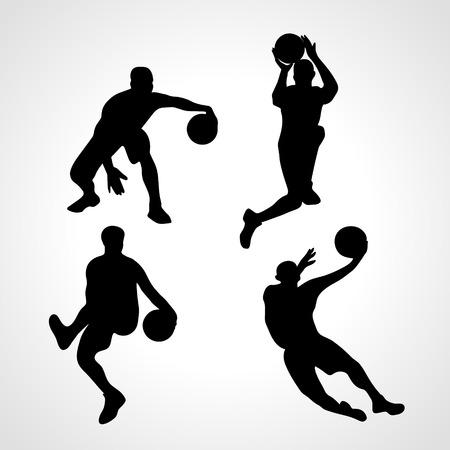 layup: Basketball players collection .  silhouettes of basketball players set