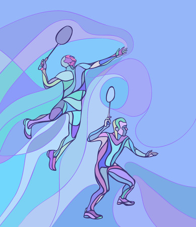 doubles: Creative color Professional Badminton players. illustration. Two people, men doubles championship Illustration