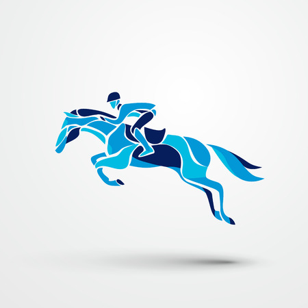 Course de chevaux. le sport équestre. Silhouette de cheval de course avec le jockey sur fond isolé. Cheval et cavalier. cheval de course et le jockey silhouette. Derby. Banque d'images - 63906636