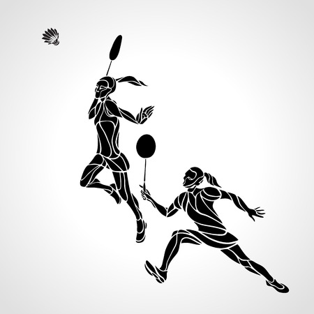 Creative color Professional Badminton players. illustration. Two girls, women doubles championship