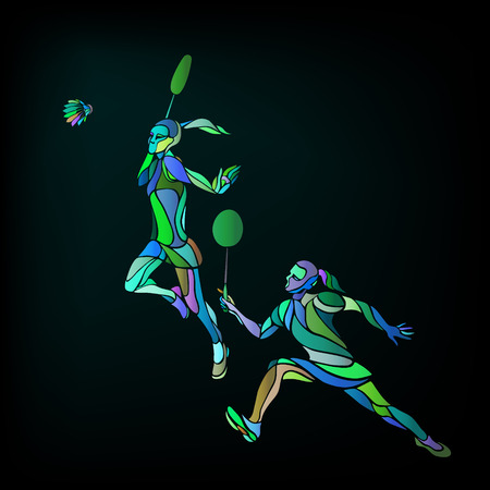 shuttlecock: Creative color Professional Badminton players. illustration. Two girls, women doubles championship template Illustration