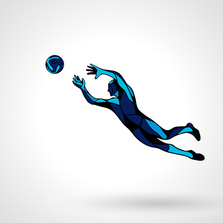 Soccer or football player, goalkeeper jumping. Abstract line art silhouette. Illustration on white background.