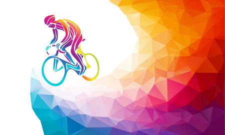 activism: Professional cyclist involved in a bike race. multicolor rainbow colors artwork. illustration.