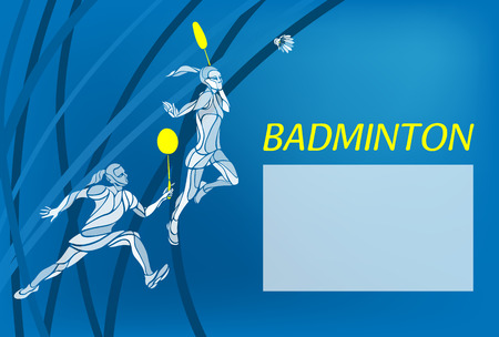 doubles: Badminton sport invitation poster or background with empty space, template. Creative color Professional Badminton players. Two girls, women doubles championship template