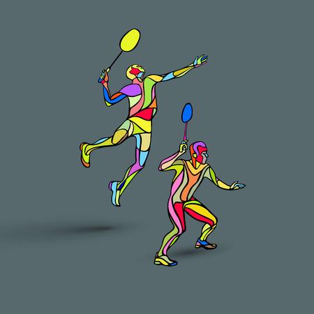Creative color Professional Badminton players. illustration. Two people, men doubles championship Illustration