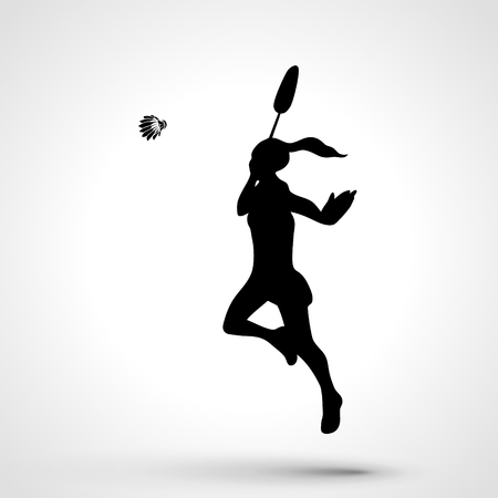 serve one person: Silhouette of female badminton player doing smash shot. Black and white outline professional badminton player. Illustration