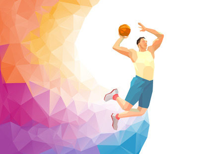 Polygonal geometric professional basketball player on colorful low poly background doing jump shot with space for  poster, web, leaflet, magazine. illustration
