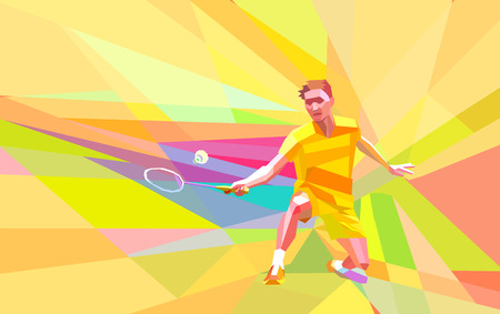 Polygonal geometric professional badminton player on yellow and orange colorful low poly background doing forehand shot with space for poster, web, leaflet, magazine.  illustration Stock Photo