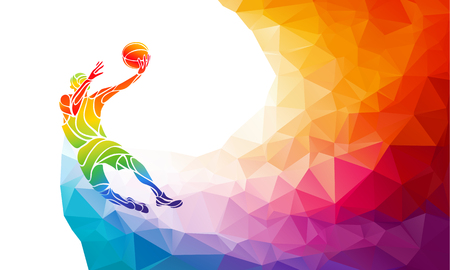 jump shot: Polygonal geometric professional basketball player on colorful low poly background doing jump shot with space for poster, web, leaflet, magazine. illustration
