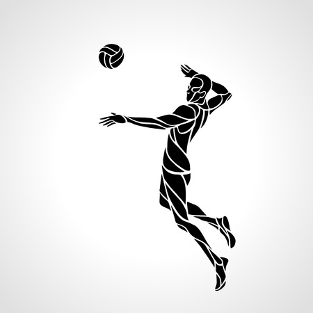 attacking: Volleyball player attacking the ball - black silhouette. Modern simple volleyball