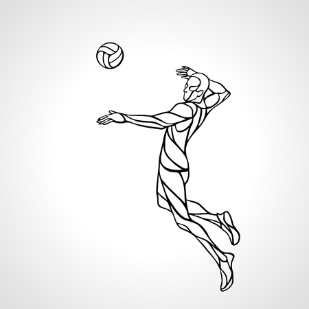 attacker: Volleyball player attacking the ball - black and white outline silhouette. Modern simple volleyball Illustration