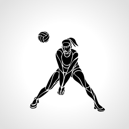 female volleyball: Woman female volleyball abstract player passing ball. Black and white silhouette. illustration