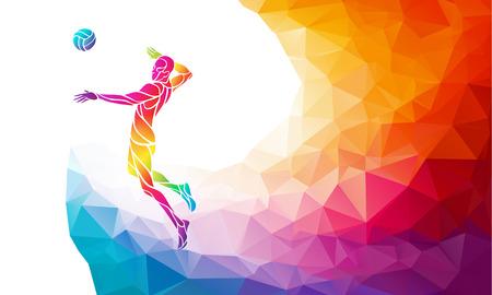 Volleybal aanvaller speler met de bal. Strand sport, kleurrijke illustratie met achtergrond of sjabloon in de trendy abstracte kleurrijke stijl en regenboog terug
