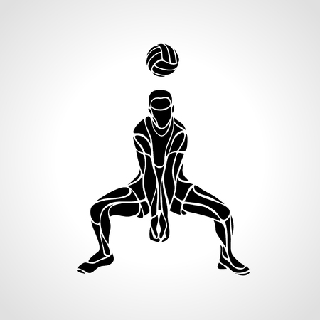 Volleyball player receiving feed. Silhouette of a abstract volleyball player returning a ball with a dig. clipart illustration.