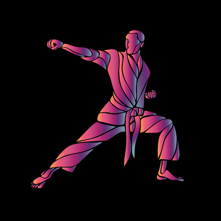punching: Man in a karate pose. Martial arts man silhouette. Abstract illustration of a martial arts master on black background
