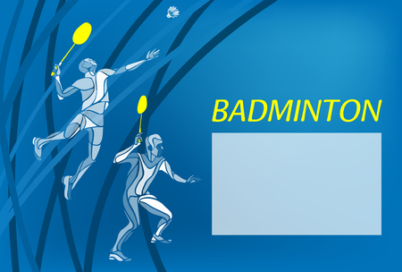 Badminton sport invitation poster or flyer backdrop with empty space, banner template. Creative color Professional Badminton players. Two people, men doubles championship banner template Eps 10 Ilustrace