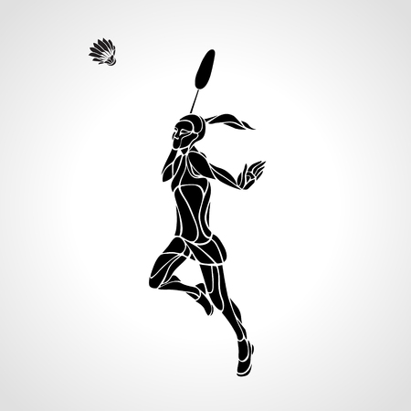 smash: Silhouette of abstract female badminton player doing smash shot. Black and white professional badminton player.