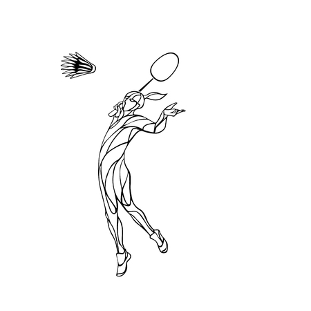 smash: Silhouette of abstract female badminton player doing smash shot. Black and white outline professional badminton player.
