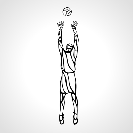 setter: Stylized athlete, played volleyball. Volleyball player on setter position. Eps 8, vector illustration