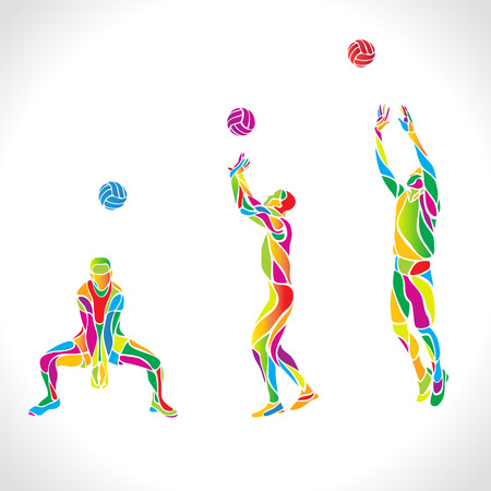 Vector volleyball players set, people silhouettes, summer game activity. Spectrum color silhouettes collection. Eps 10 Illustration