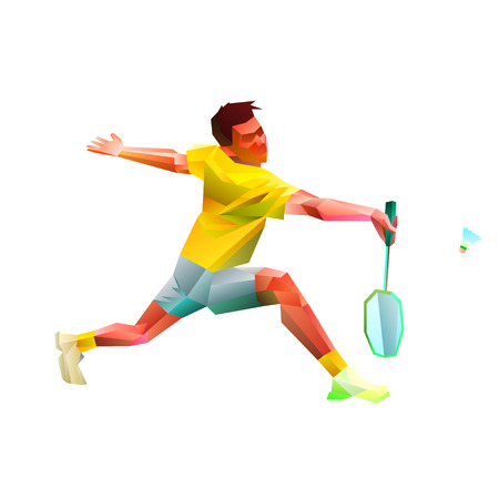 Polygonal geometric professional badminton player on white background. Vector illustration Eps10