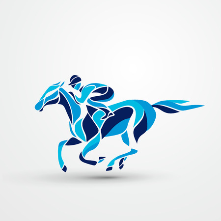 Horse race. Equestrian sport. Silhouette of racing horse with jockey . Horse and rider. Racing horse and jockey silhouette. Derby. Eps 10
