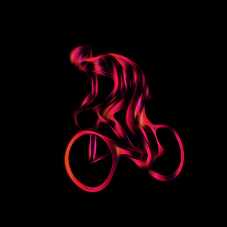 Professional cyclist in a bike race. Color artwork in the style of paint strokes on black background.
