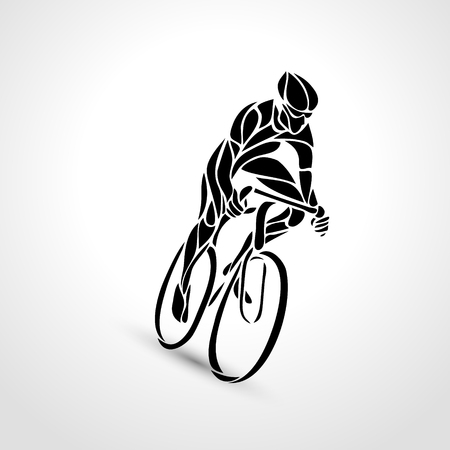 Abstract creative silhouette of bicyclist. Black cyclist wave style logo. Front view. Vector illustration of bike