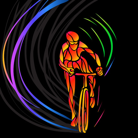 artwork: Professional cyclist involved in a bike race. Vector artwork in the style of paint strokes. Vector illustration Illustration