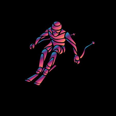 Ski downhill. Creative silhouette of the skier. Giant Slalom Ski Racer. Color illustration Illustration