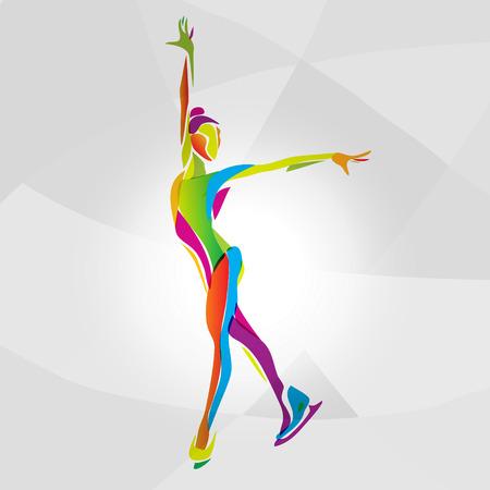 silueta de la chica creativa de patinaje sobre hielo. espectáculo sobre hielo, colores del arco iris ilustración vectorial