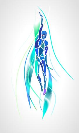 Back Crawl Backstroke Swimmer Silhouette. Stylised creative sport swimming, one of four swim technique. Professional swimming color vector illustration, eps 8 Vettoriali