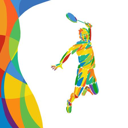 バドミントン選手と抽象的なカラフルなパターン。夏色 - 緑、オレンジ、黄色、青。スポーツ デザイン広告の背景。Eps8 ストック ベクトル