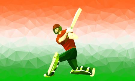 크리켓 선수 실루엣 스타일 인도 국기와 국가 색 사프란, 흰색과 녹색 다각형 낮은 폴리 그림입니다.