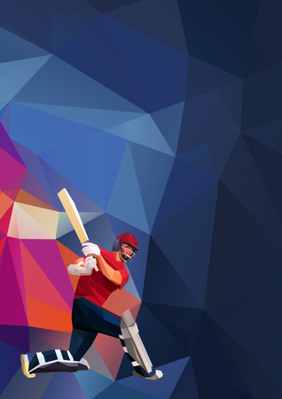 Low polygon style illustration of a cricket player batsman with bat batting set on colorful background. Eps 10
