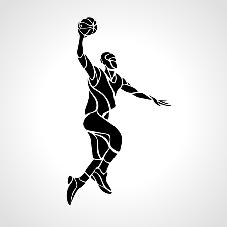 basketball dunk: Basketball player. Slam Dunk Silhouette. Vector illustration