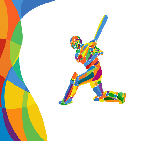 Abstract cricket player color illustration Illustration