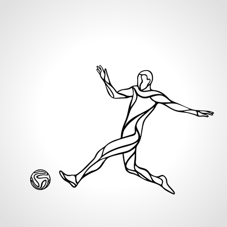 sportsmen: Soccer or football player kicks the ball, sportsman silhouette